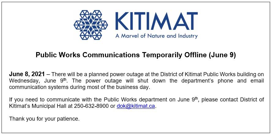 Public Works Communications Temporarily Offline (June 9)