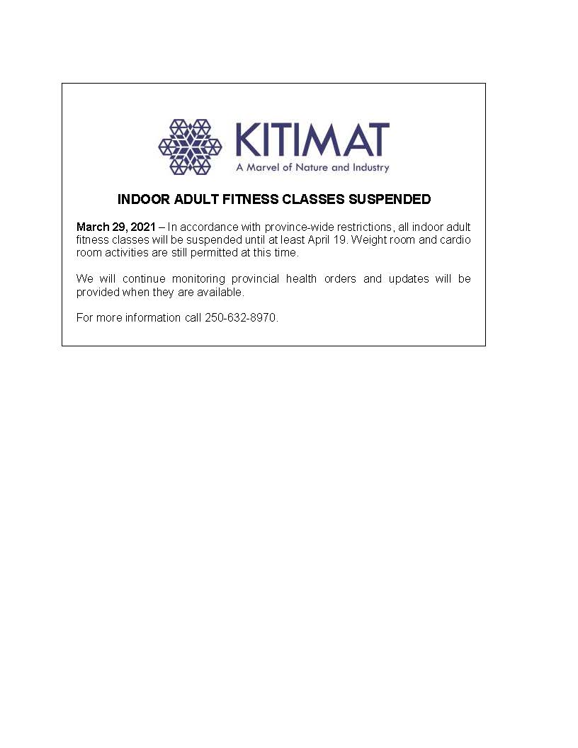 Indoor Adult Fitness Classes Suspended
