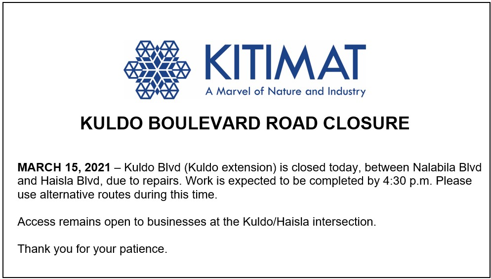 Kuldo Boulevard Road Closure