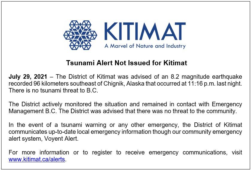Tsunami Alert Not Issued for Kitimat