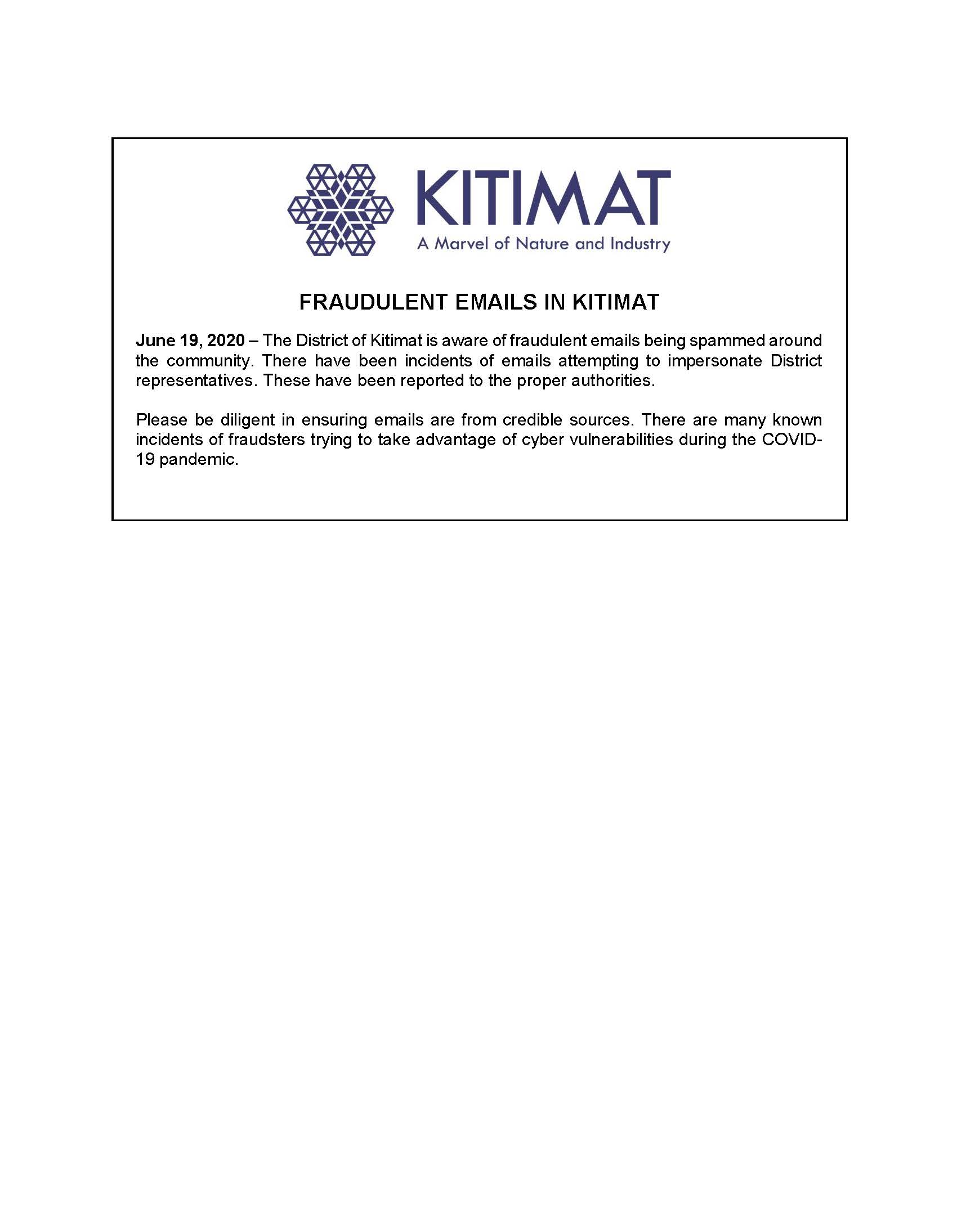 Fraudulent Emails in Kitimat