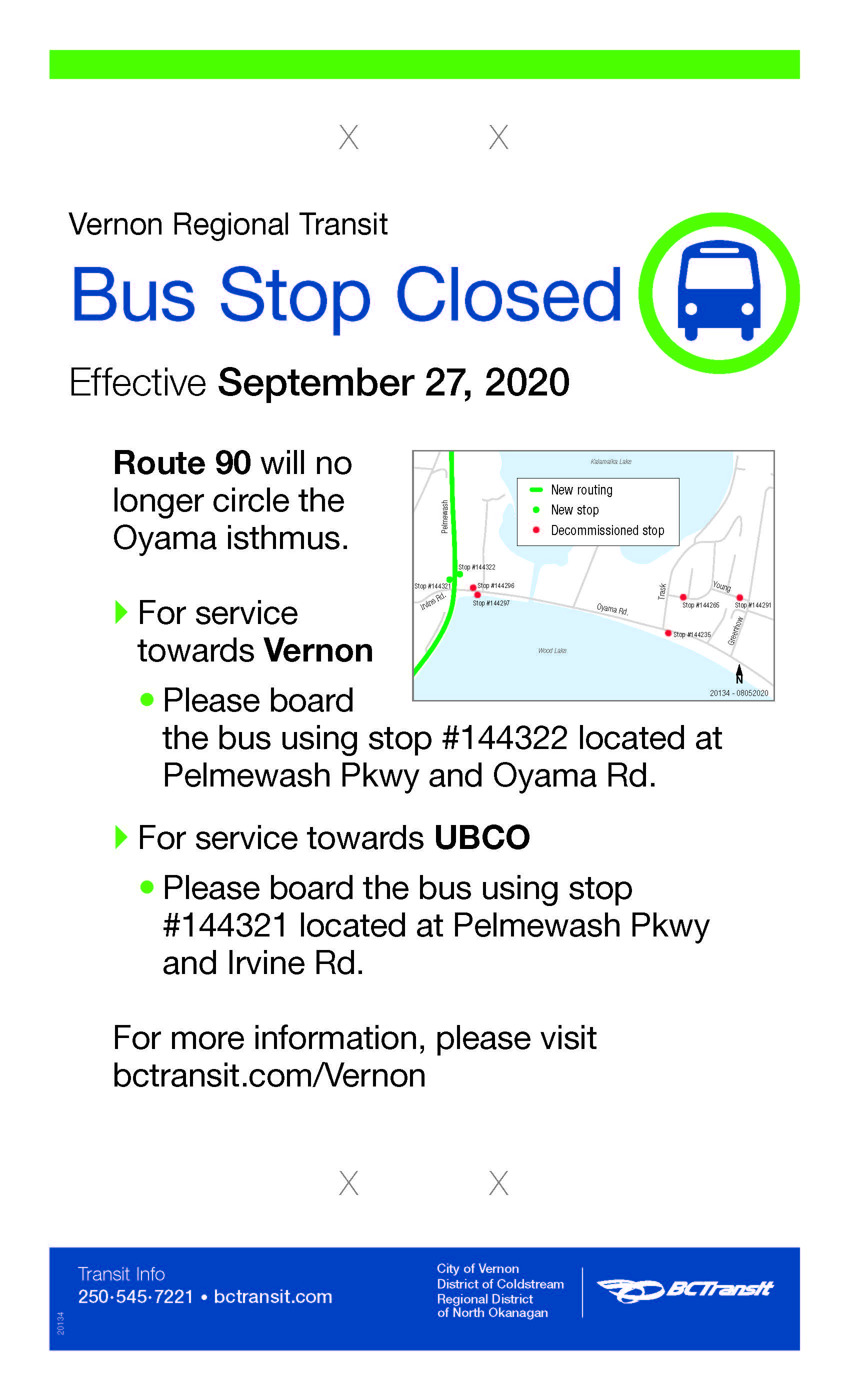 Route 90 changes 2020-09-27