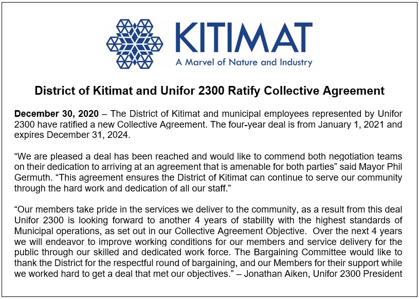 District of Kitimat and Unifor 2300 Ratify Collective Agreement