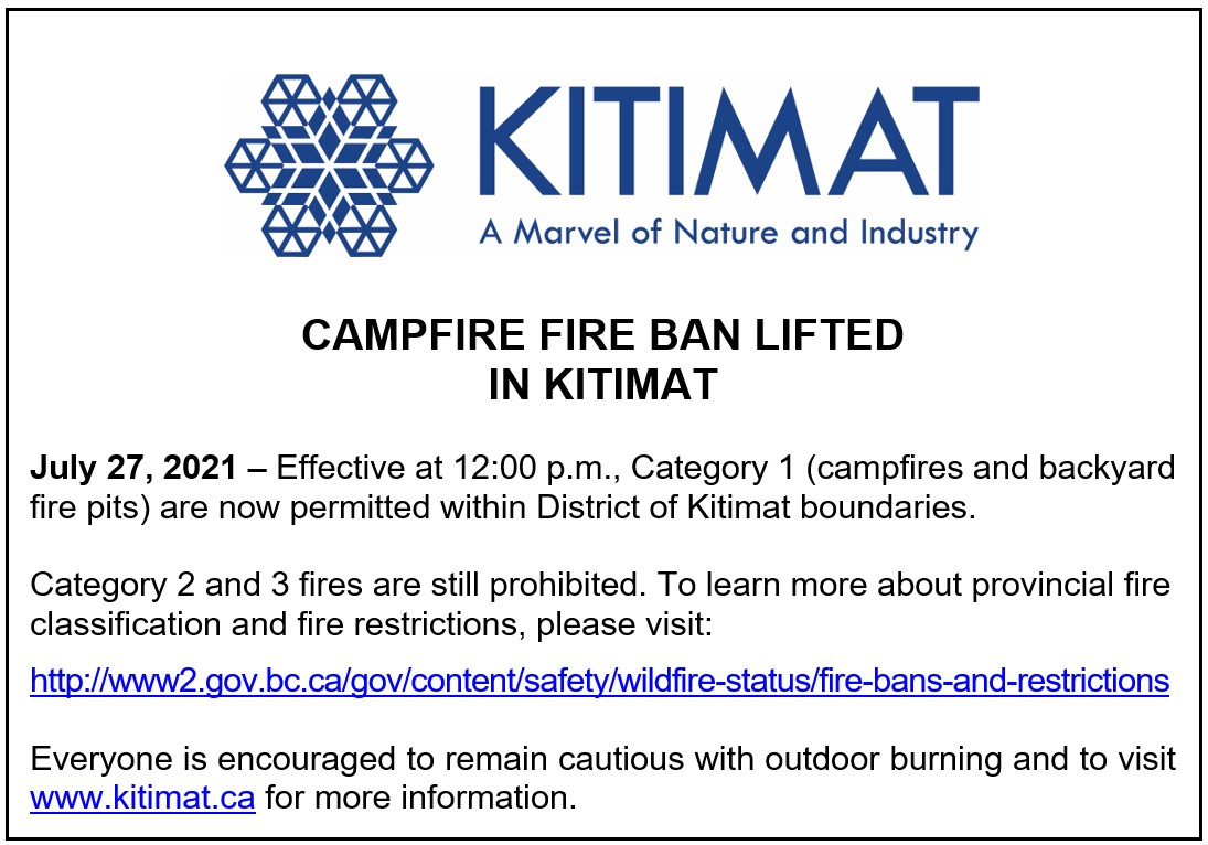 Campfire Fire Ban Lifted in Kitimat