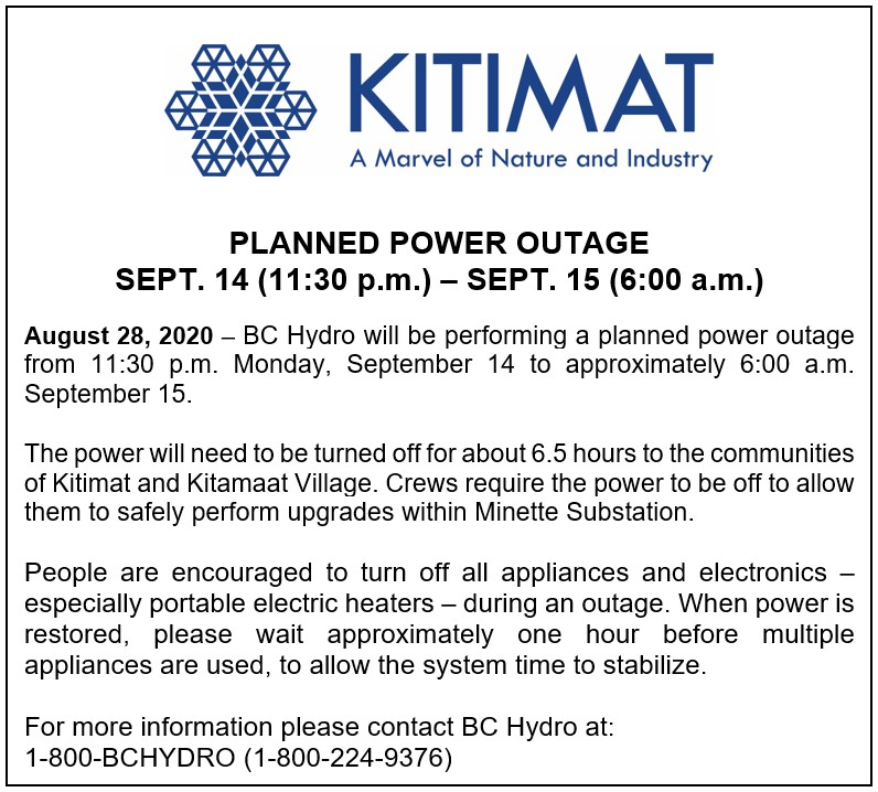 Planned Power Outage Sept 14 to Sept 15