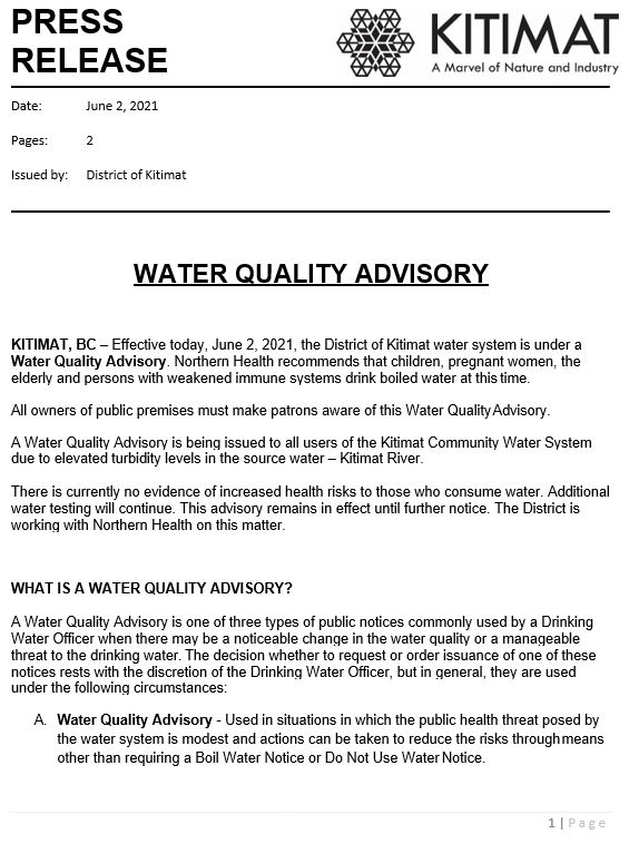 Water Quality Advisory