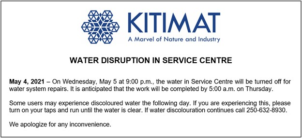 Water Disruption in Service Centre