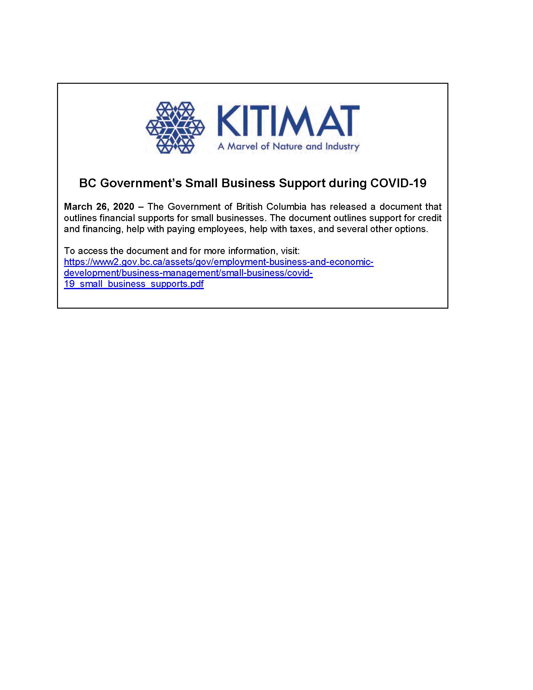 BC Government's Small Business Support During COVID-19