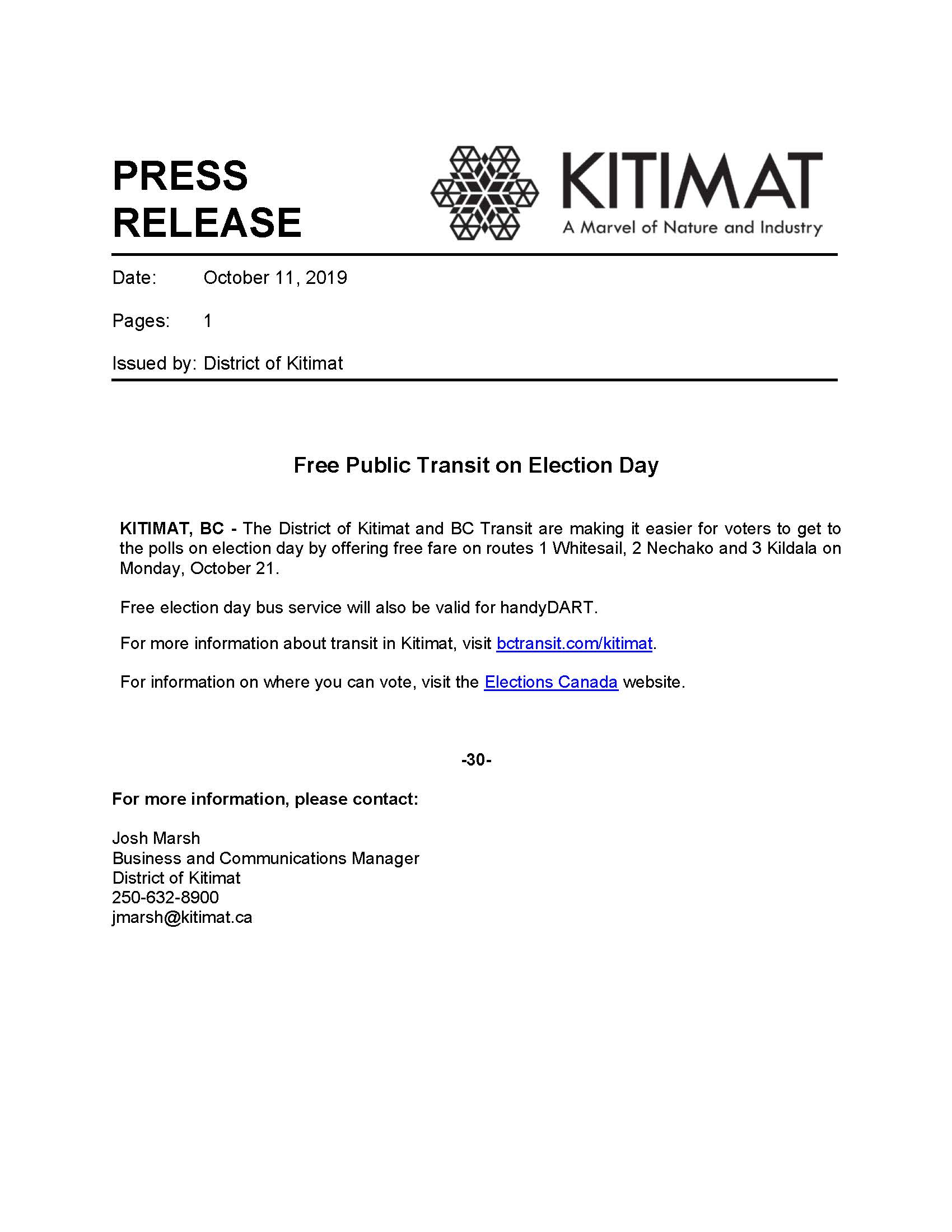 19-10-11_DoK Press Release_Free Bus Service on Election Day