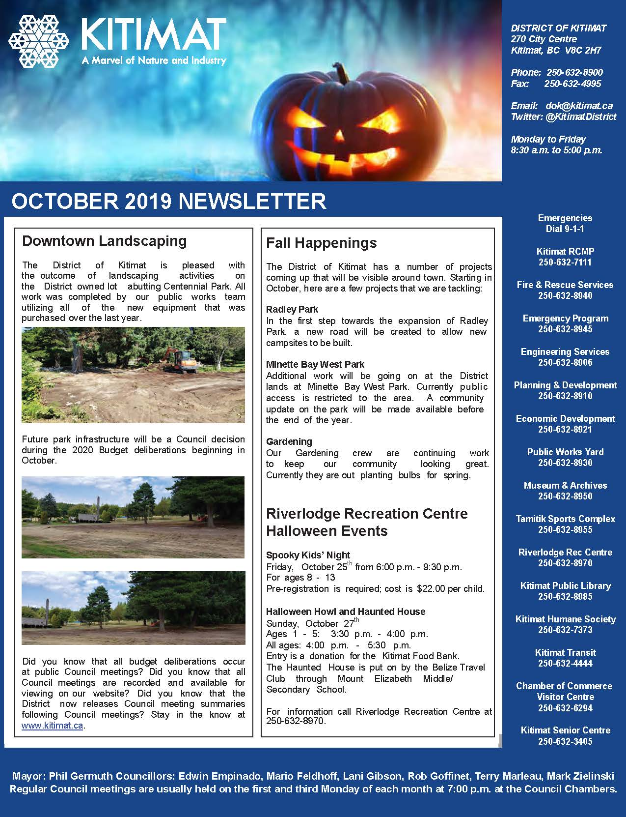 October 2019 District of Kitimat Newsletter, Page 1 of 2