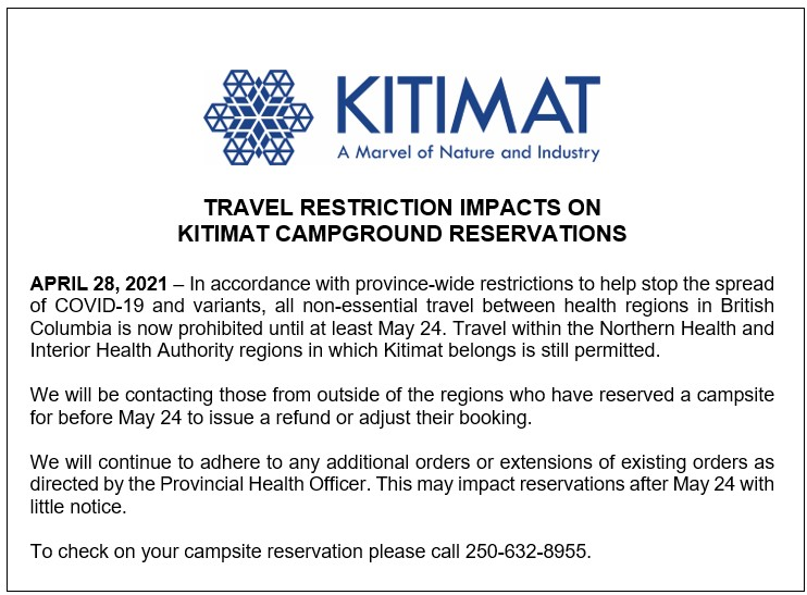 Travel Restriction Impacts on Kitimat Campground Reservations
