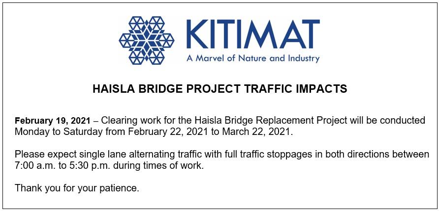 Haisla Bridge Project Traffic Impacts