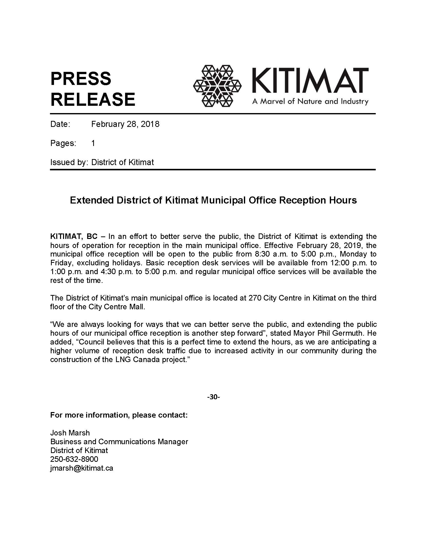 19-02-28_DoK_Press Release_New Municipal Office Reception Hours