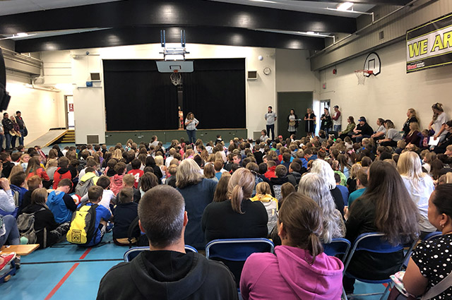 Principal Catherine Gorman with students