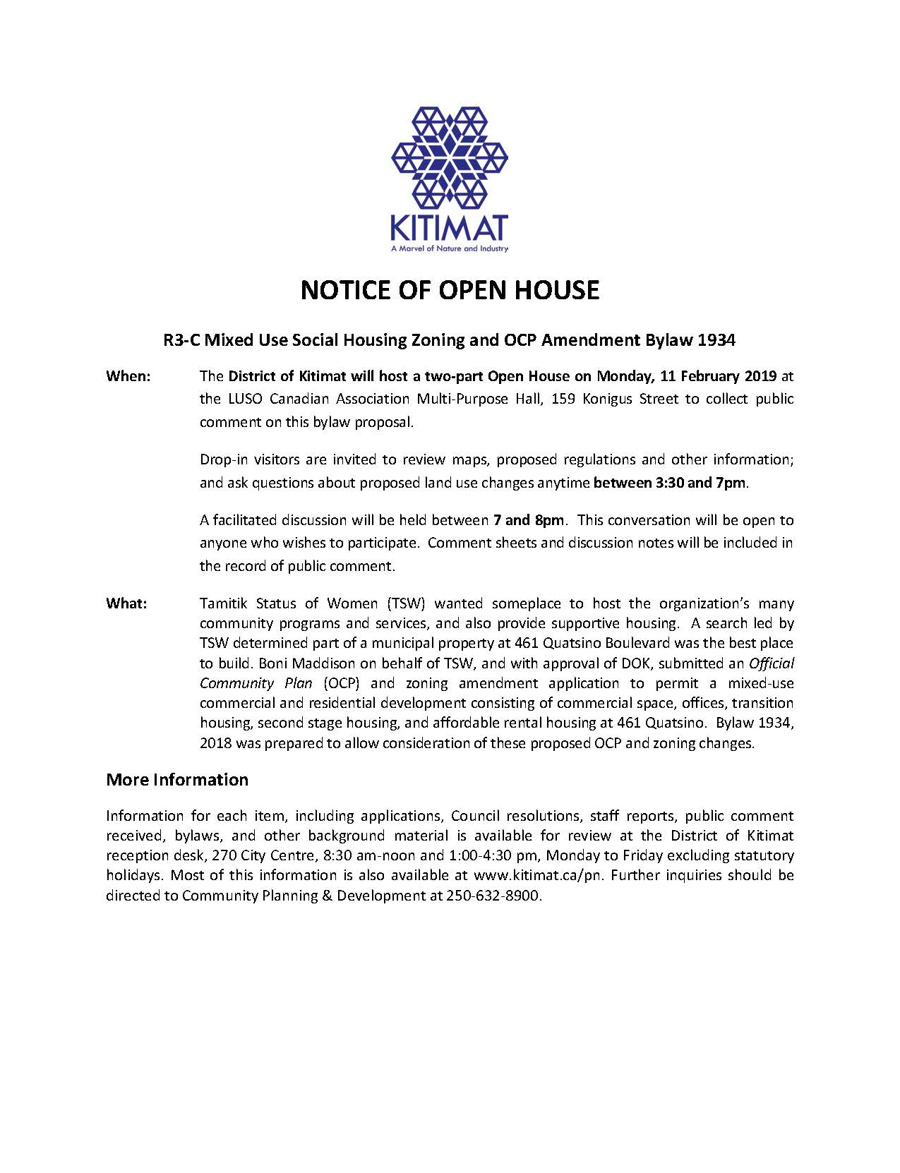 Notice of Open House, Feb 11, 2019