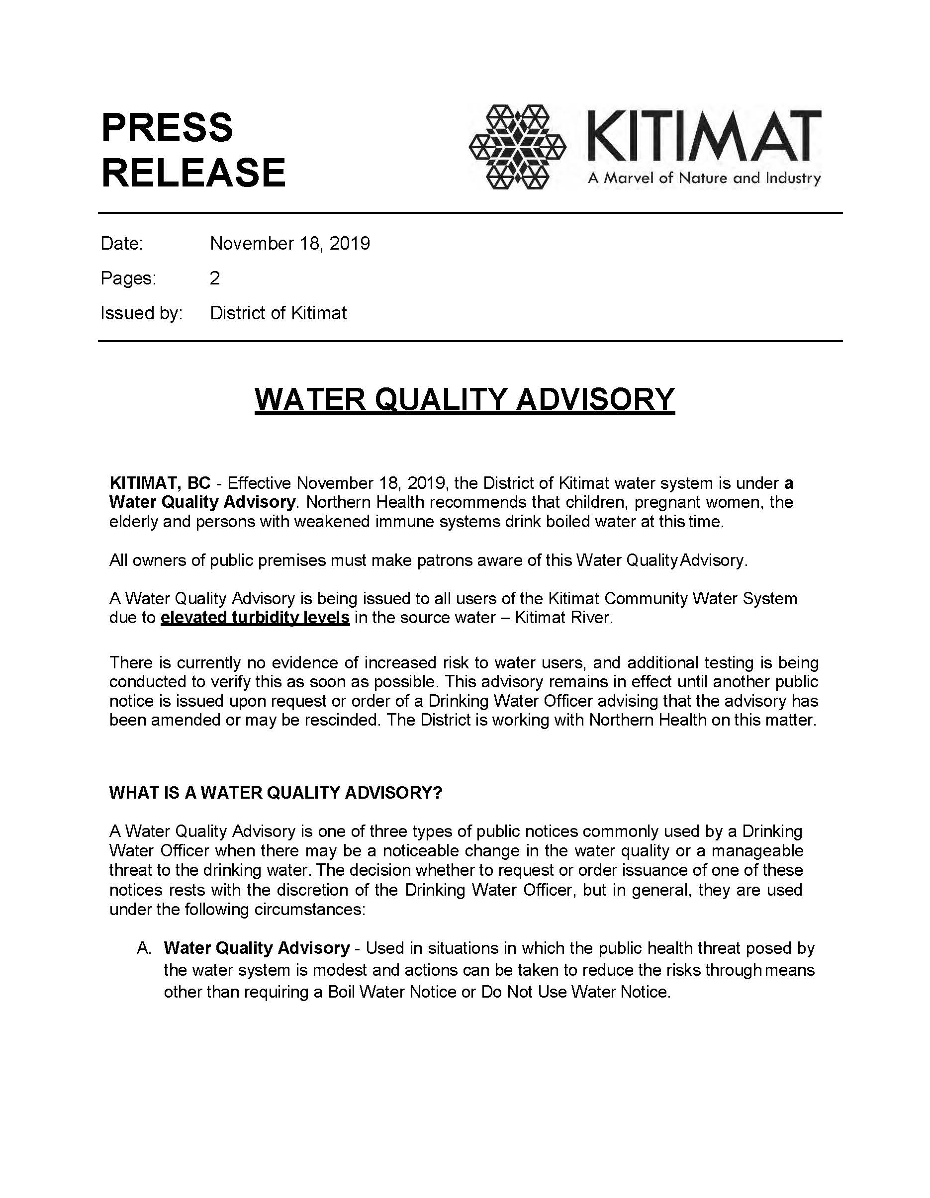 Water Quality Advisory, Nov 18 2019