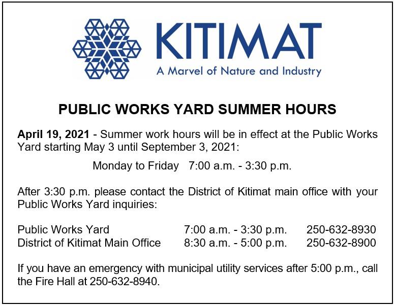Public Works Yard Summer Hours