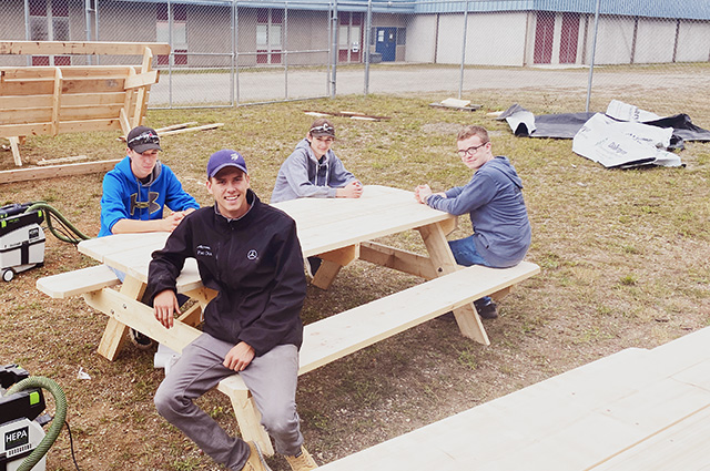 Clearwater Secondary woodworking students
