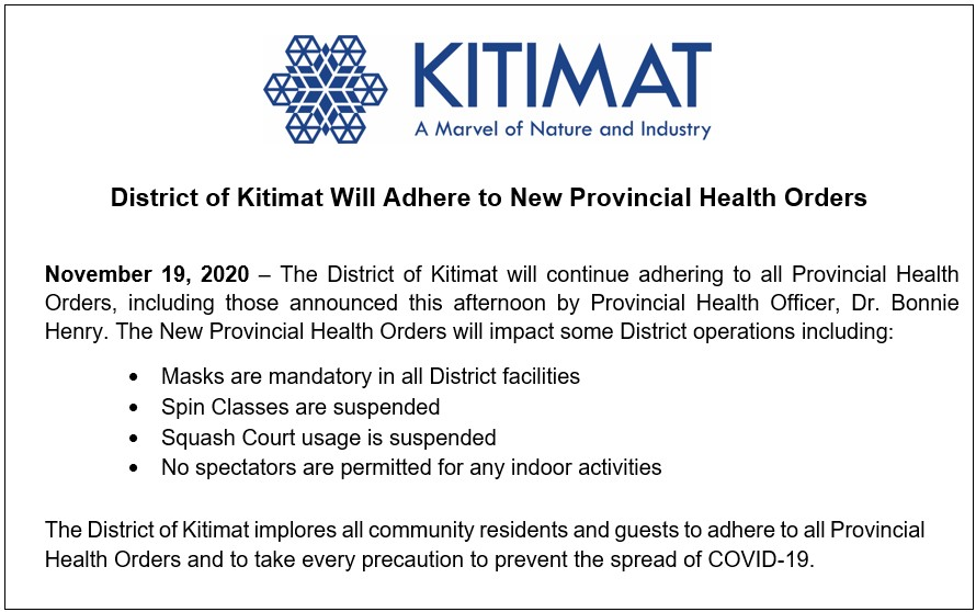 District of Kitimat Will Adhere to New Provincial Health Orders
