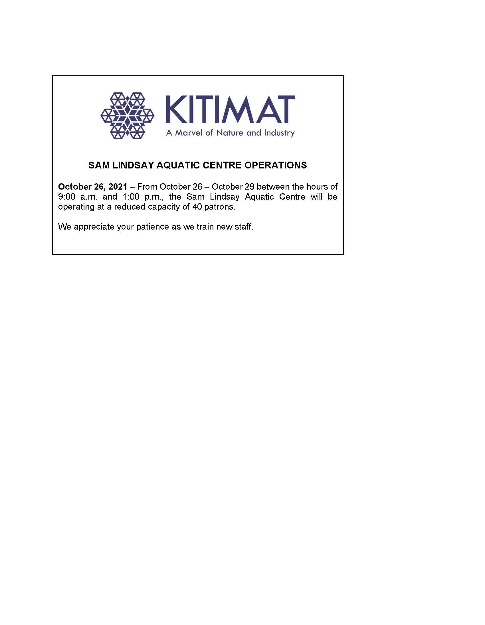 Sam Lindsay Aquatic Centre Operations