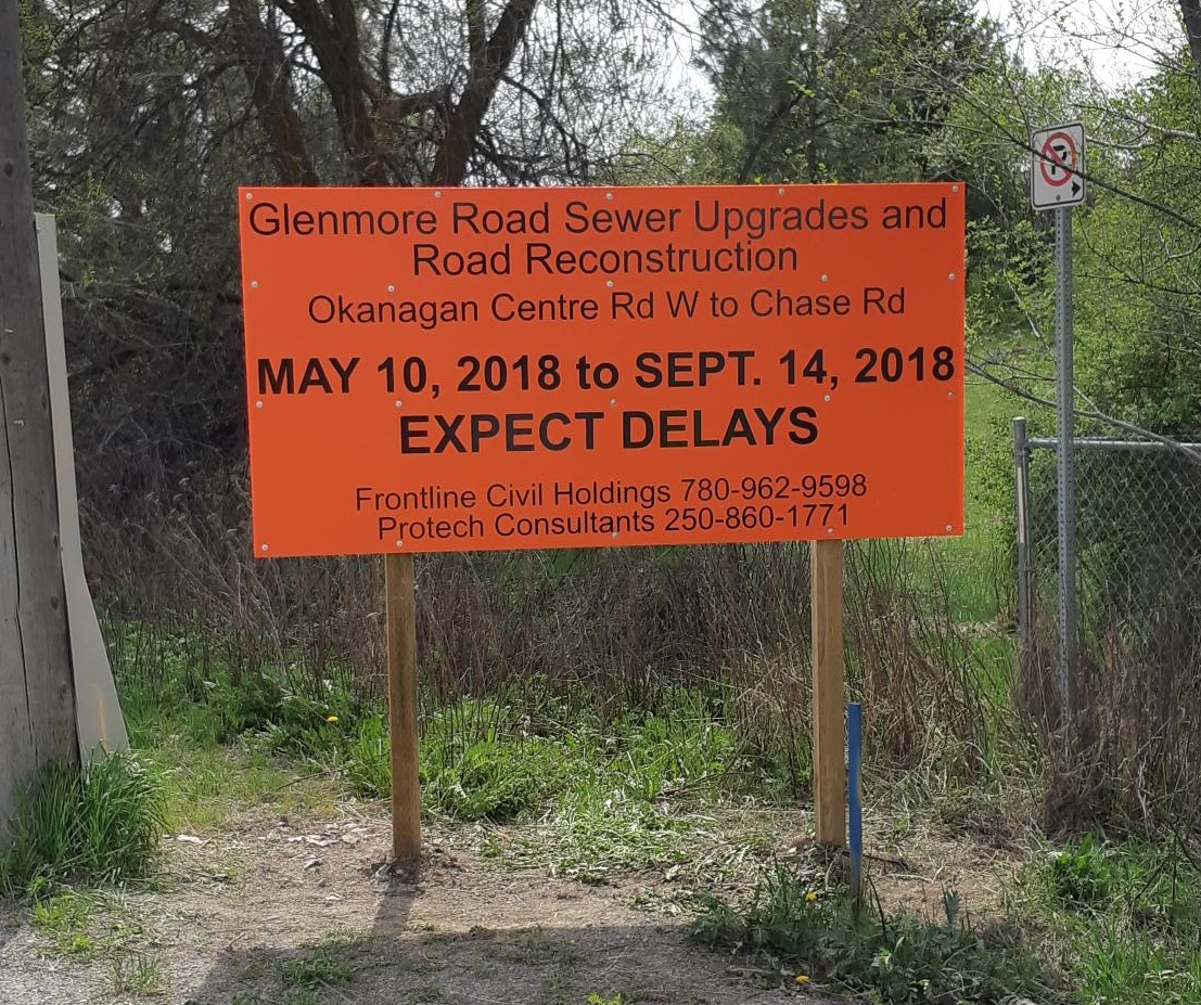 2018-May-10 to Sept 14night time work delays on Glenmore