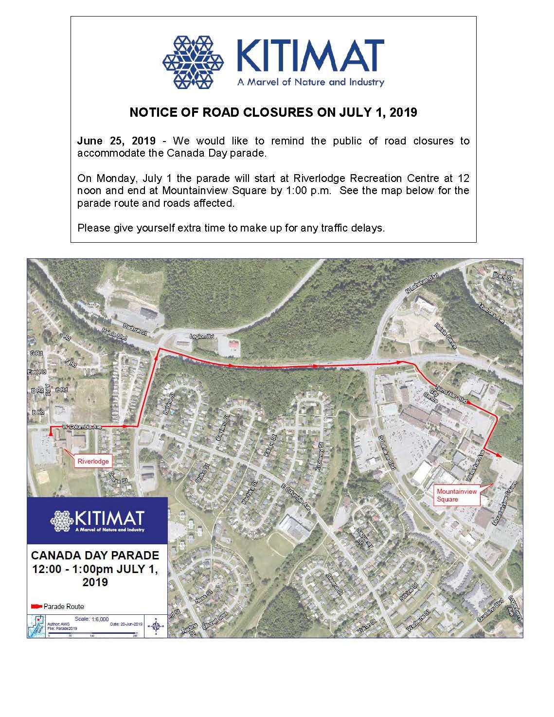 July 1 Road Closures