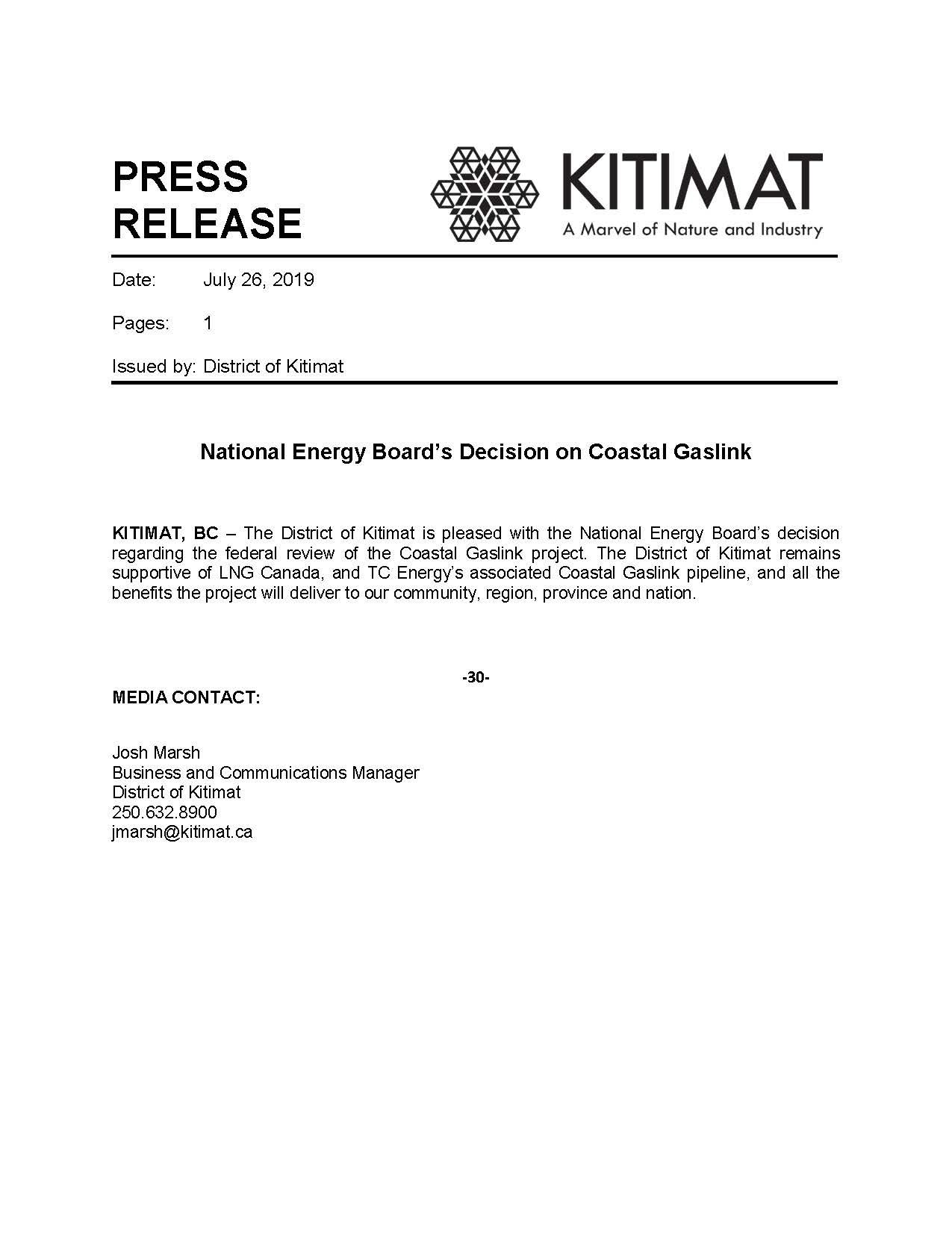 NEB Decision Re Coastal GasLink