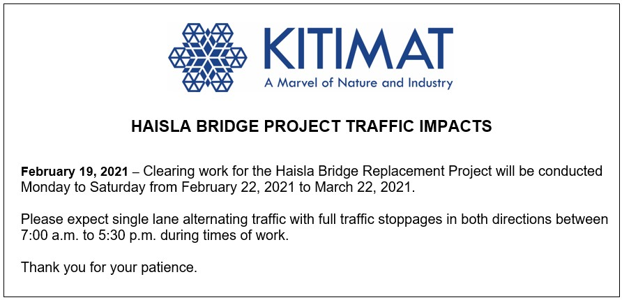 Haisla Bridge Project Traffic Impacts