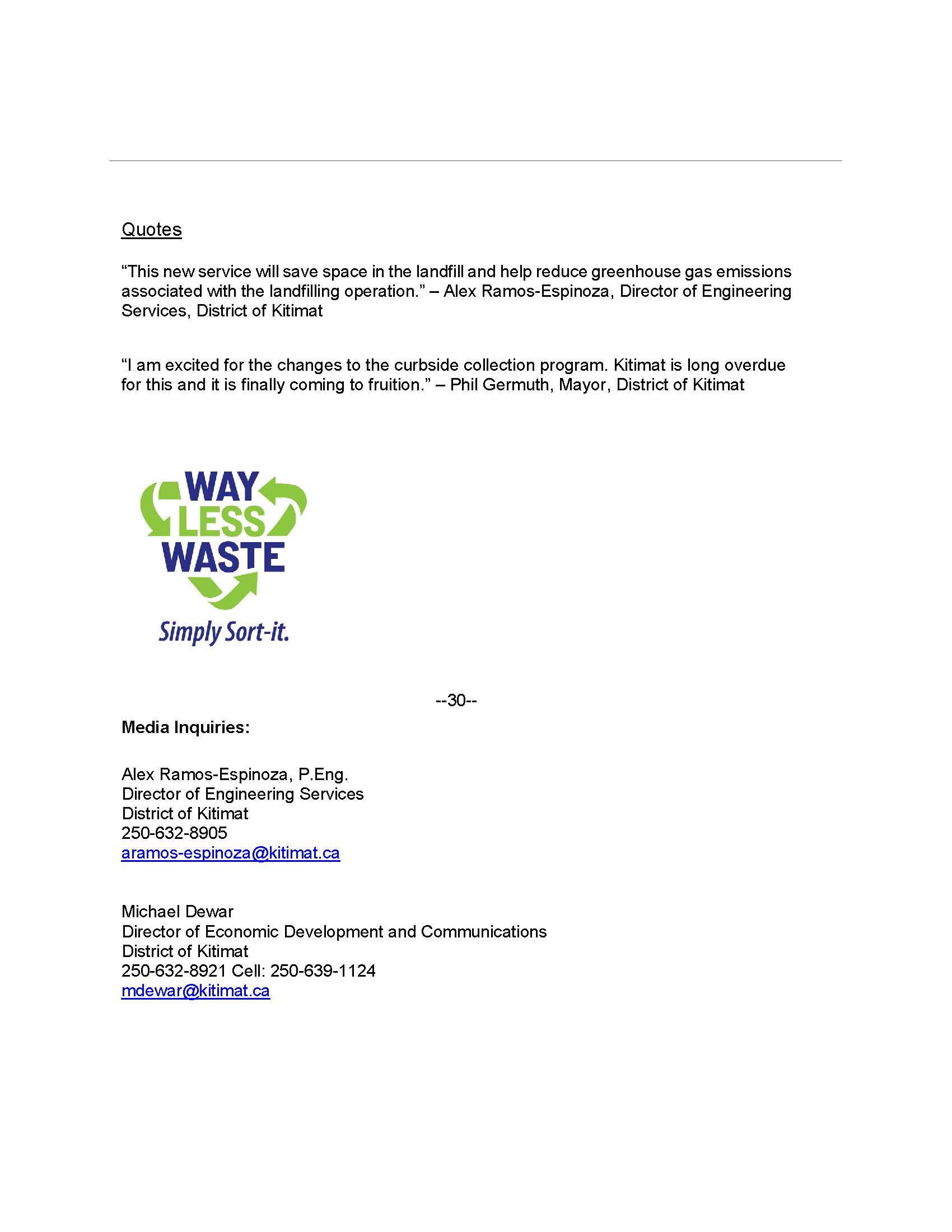 PRESS RELEASE:  Yard Waste Program Begins
