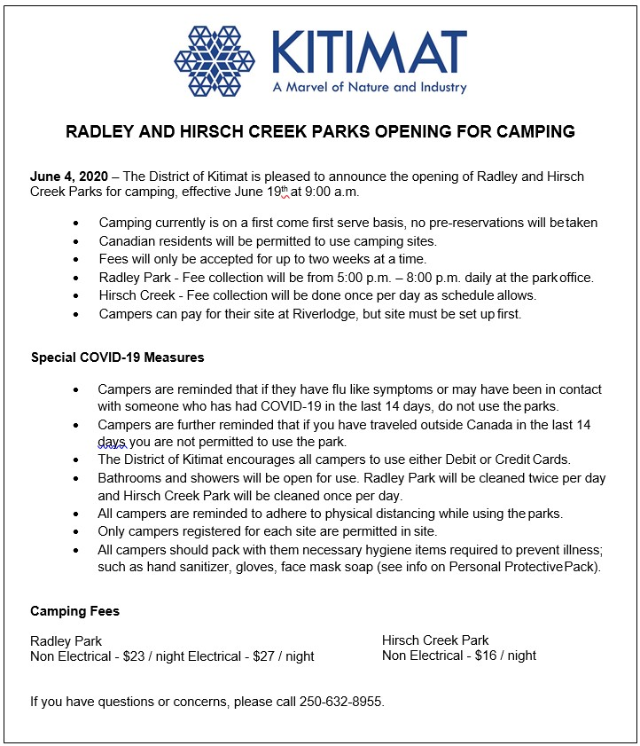 Radley and Hirsch Creek Parks Opening for Camping