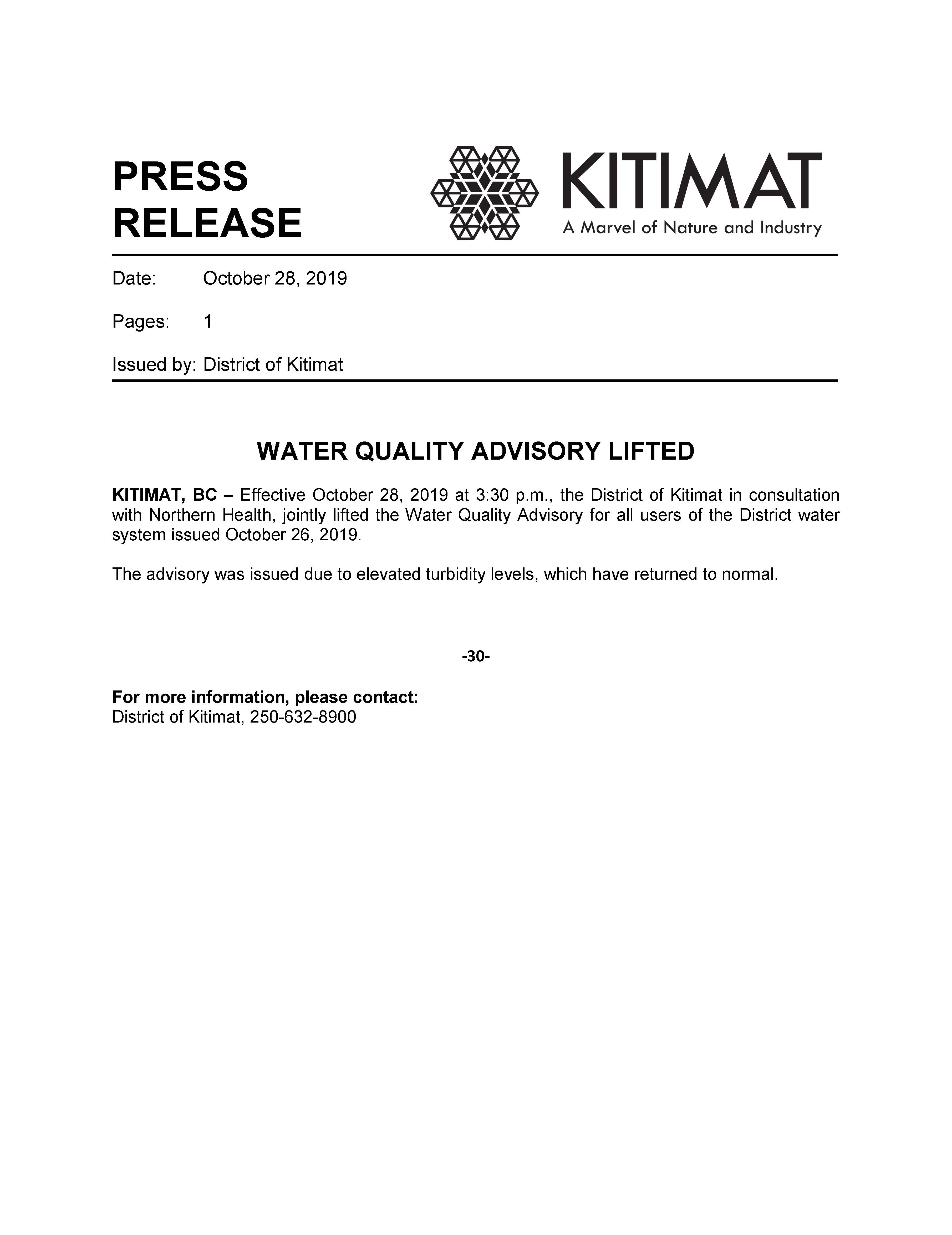 Water Quality Advisory Lifted