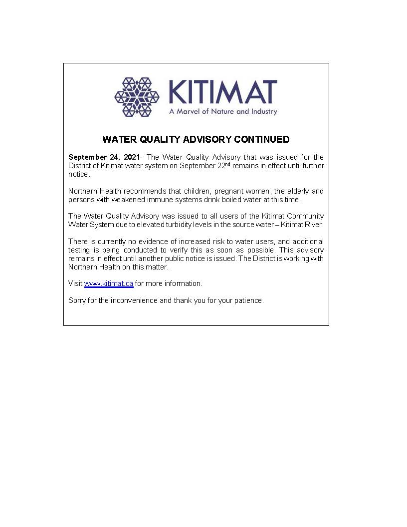 WATER QUALITY ADVISORY CONTINUED