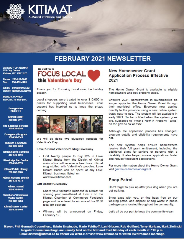 February 2021 DOK Newsletter, page 1 of 2