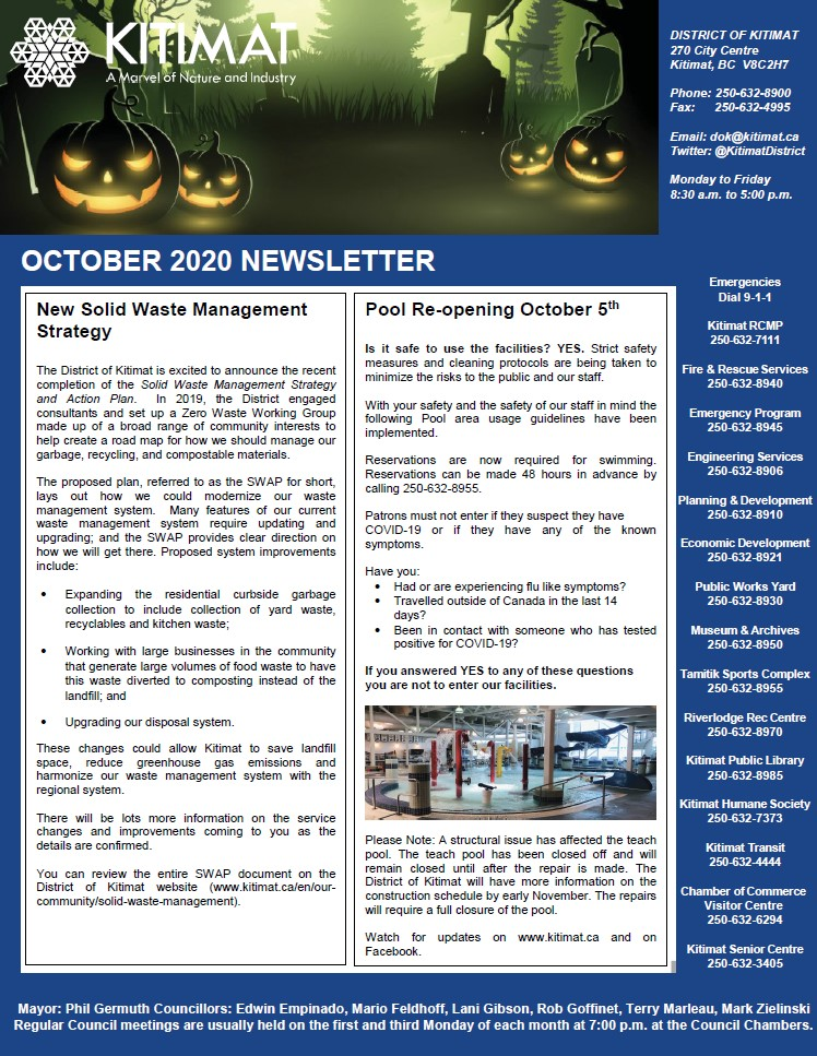 October 2020 DOK Newsletter, page 1 of 2