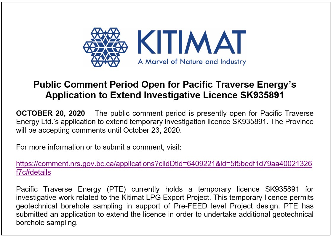 Public Comment Period Open for Pacific Traverse Energy's Application to Extend Investigative Licence SK935891