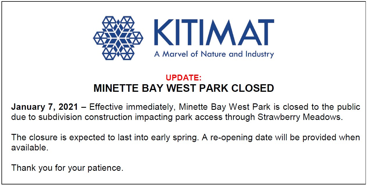Minette Bay West Park Closed
