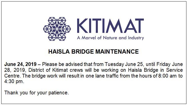 Haisla Bridge Maintenance