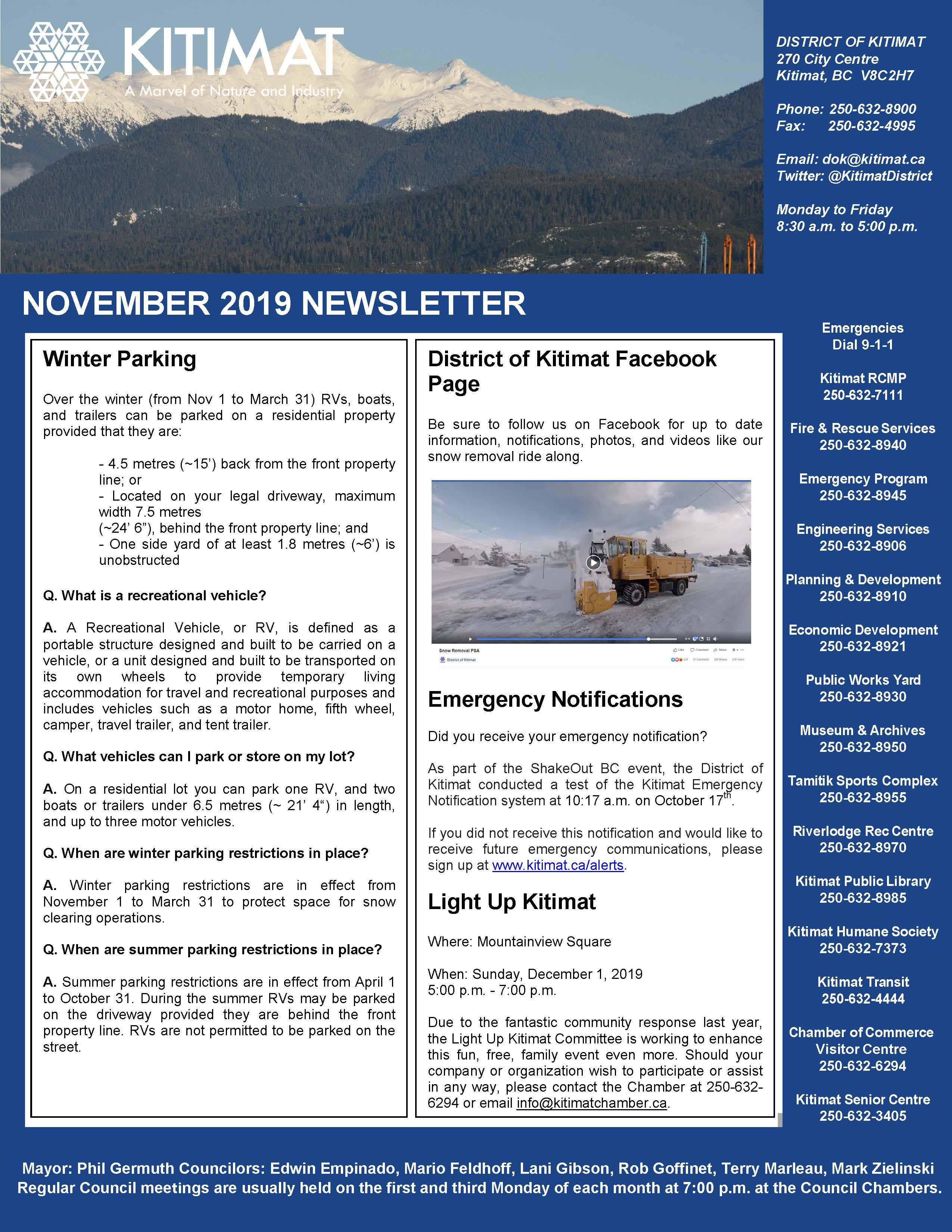 November 2019 DOK Newsletter, pg 1